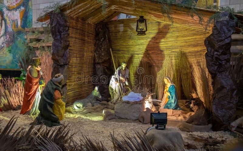 Scène de nativité à l'église orthodoxe grecque de l'annonce image libre de droits