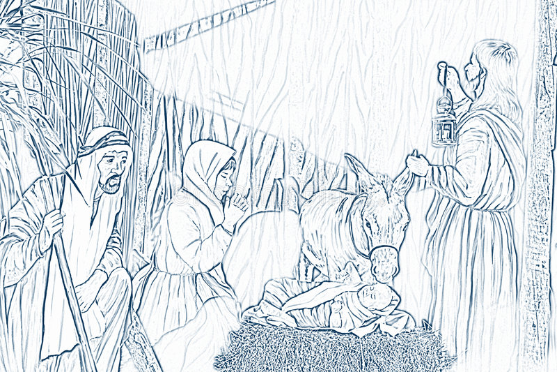 Scène de nativité illustration libre de droits