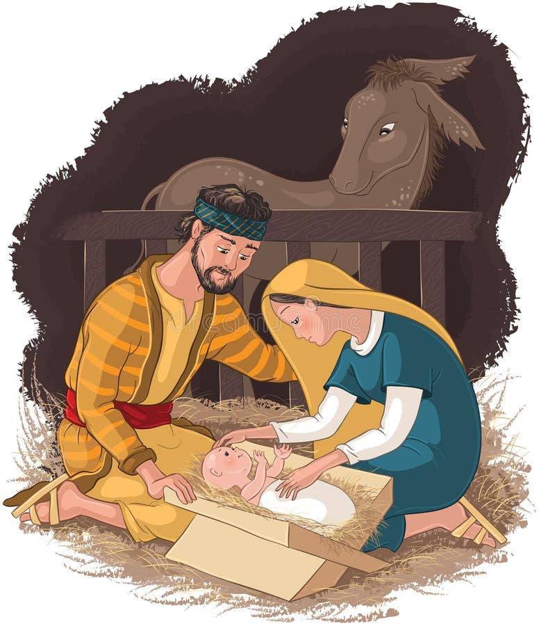 Scène de nativité avec la famille, le Jésus, la Mary et le Joseph saints illustration de vecteur