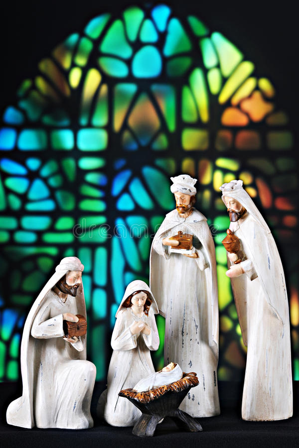 Scène de nativité d'église photos stock