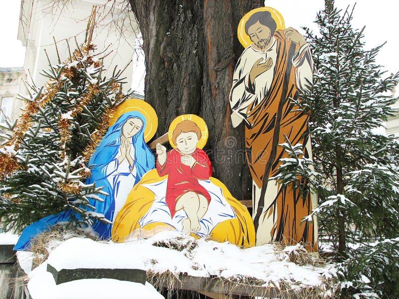 Scène de nativité de Noël de naissance de Jésus avec Joseph et Mary photographie stock