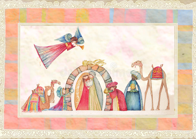 Scène de nativité de Noël Jésus, Mary, Joseph illustration stock