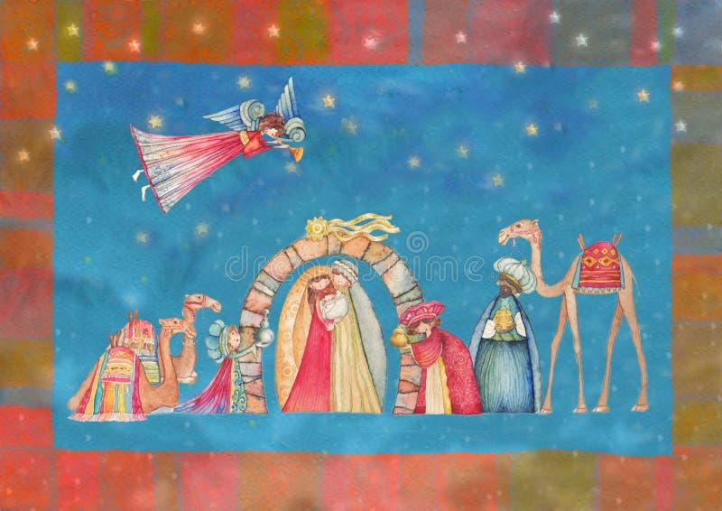 Scène de nativité de Noël Jésus, Mary, Joseph illustration de vecteur