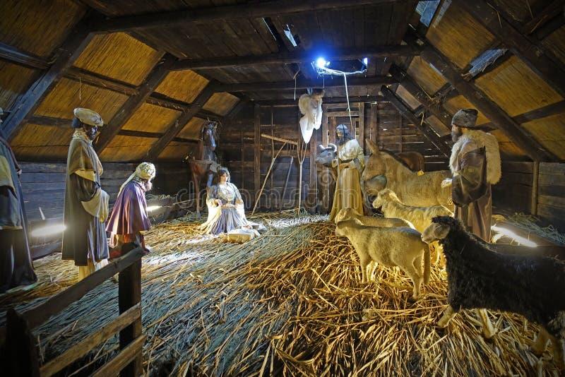 Scène De Nativité La Naissance De Jésus Christ Scène De Noël Orthodoxe images libres de droits