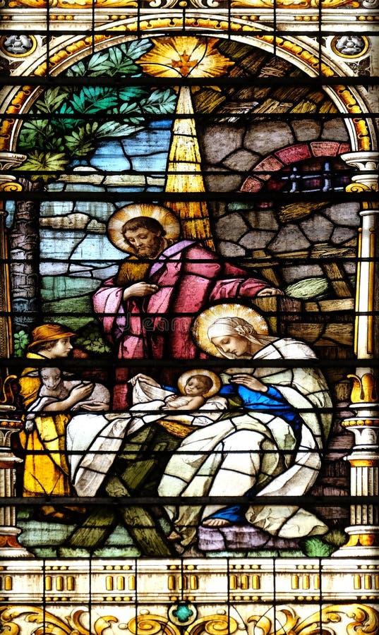 Scène de nativité, naissance de Jésus image stock