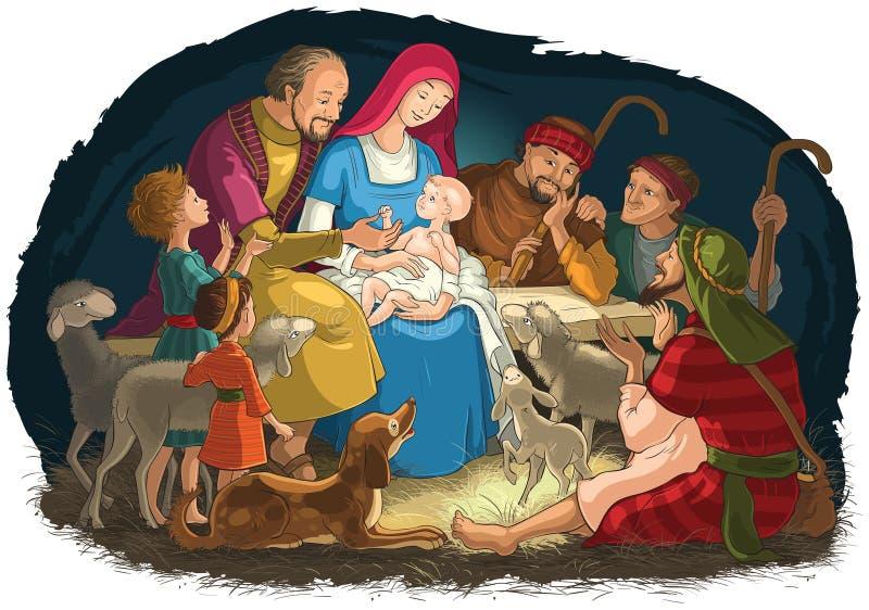 Scène de nativité de Noël avec la famille sainte - bébé Jésus, Mary, Joseph - et bergers illustration de vecteur