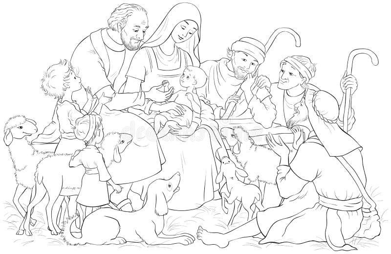 Scène de nativité de Noël avec le bébé saint de famille Jésus, Mary, Joseph et bergers colorant la page illustration de vecteur