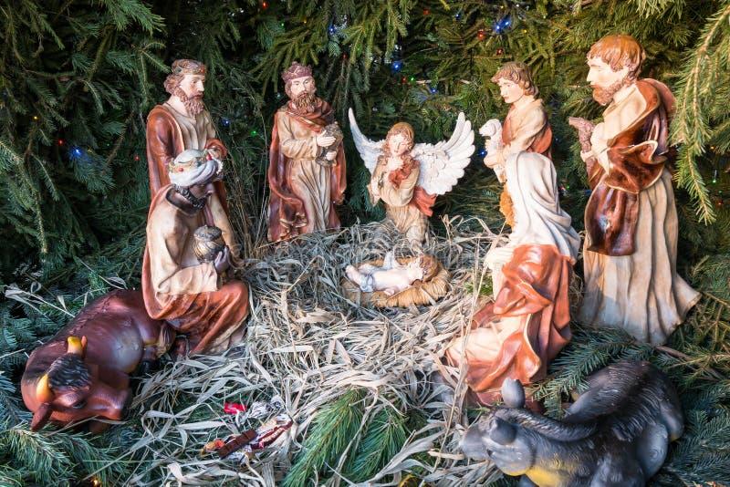 Scène de nativité de Noël dans une église orthodoxe à Moscou Russie photographie stock libre de droits
