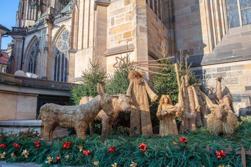 Scène de nativité par la cathédrale de Prague dans la République Tchèque photographie stock libre de droits