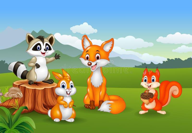 Scène de nature avec différents animaux illustration stock