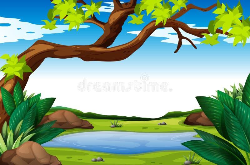 Scène de nature avec l'arbre et l'étang illustration de vecteur