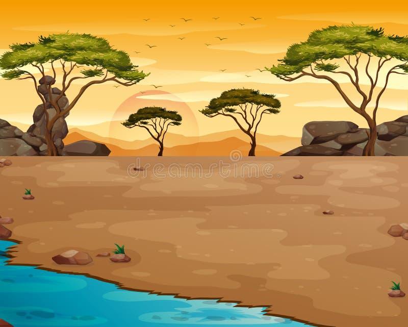 Scène de nature avec la rivière au coucher du soleil illustration libre de droits