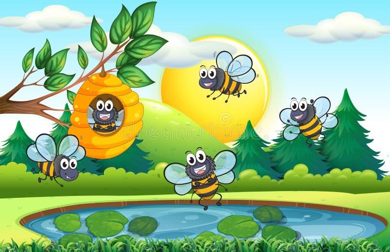 Scène de nature avec les abeilles et la ruche illustration libre de droits