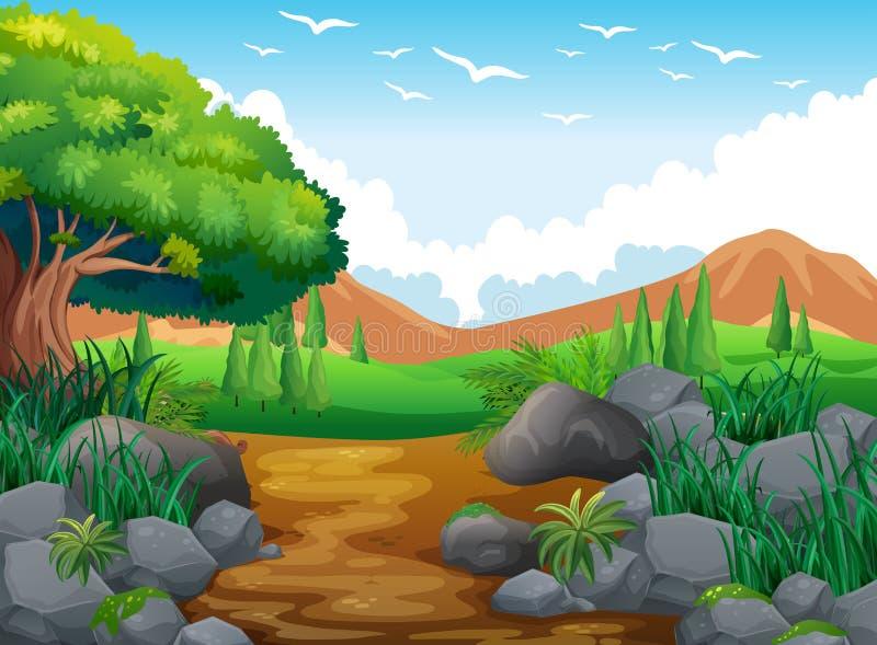 Scène de nature avec les collines et la traînée illustration stock