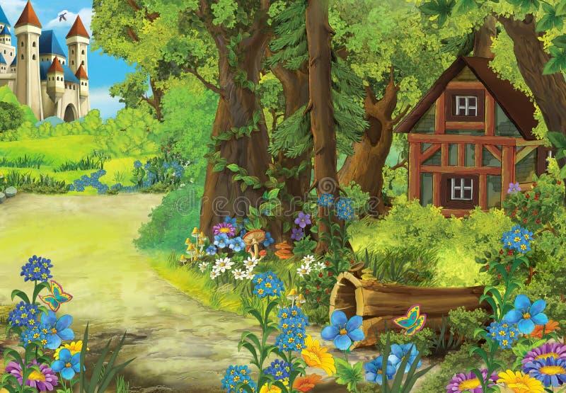 Scène de nature de bande dessinée avec la vieille maison dans la forêt et le château dedans il fond illustration libre de droits