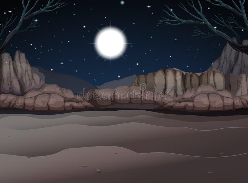 Scène de nature de canyon la nuit illustration stock