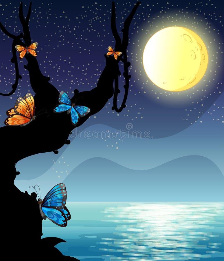 Scène de nature de silhouette la nuit de fullmoon illustration stock