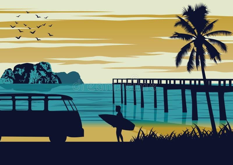 Scène de nature de mer en été, de planche de surf de prise d'homme près de plage et de port en bois, conception de couleur de cru illustration stock
