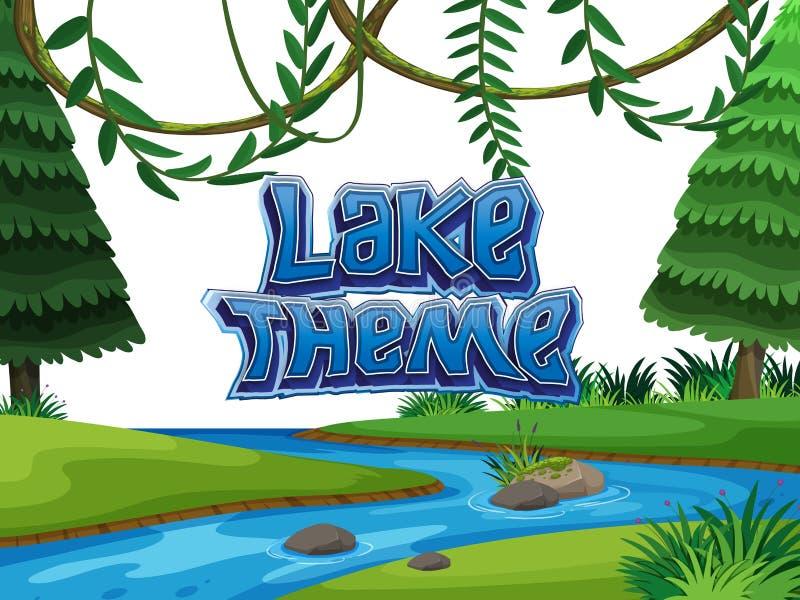Scène de nature de thème de lac illustration libre de droits