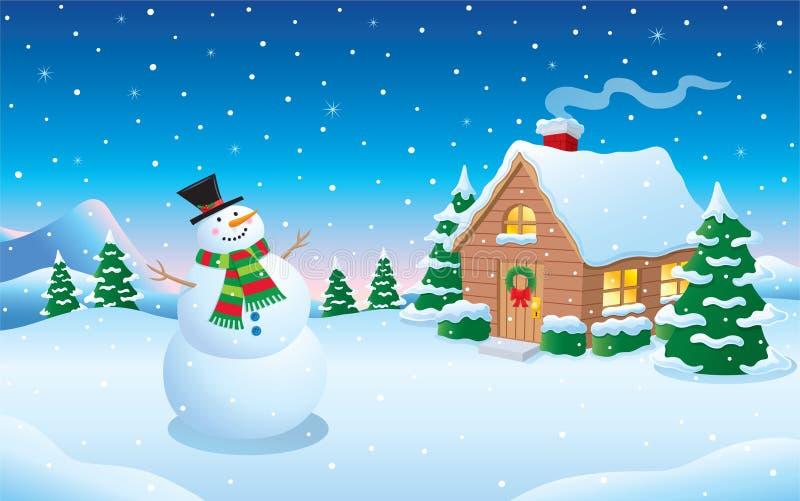 Scène de neige d'hiver de bonhomme de neige et de carlingue illustration de vecteur