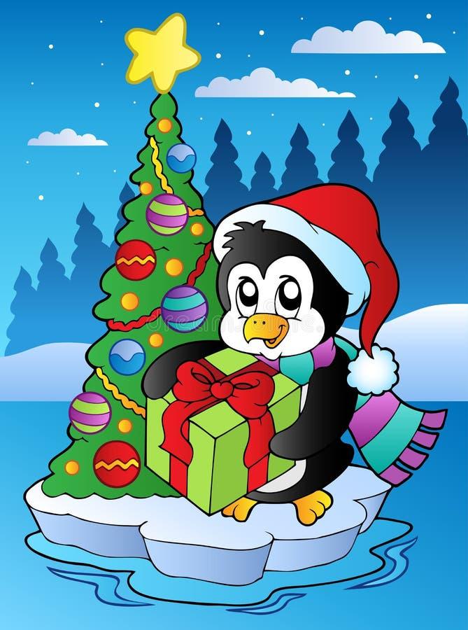 Scène de Noël avec le pingouin illustration libre de droits