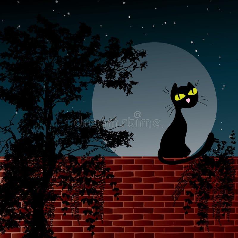 Scène de nuit avec la lune et le chat noir illustration libre de droits