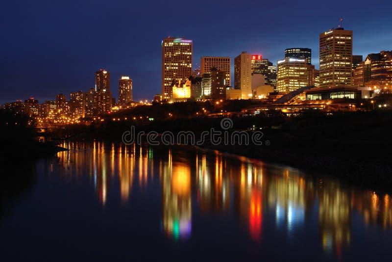 Scène de nuit d'Edmonton photographie stock