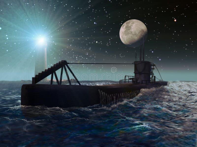 Scène de nuit d'un sous-marin illustration de vecteur