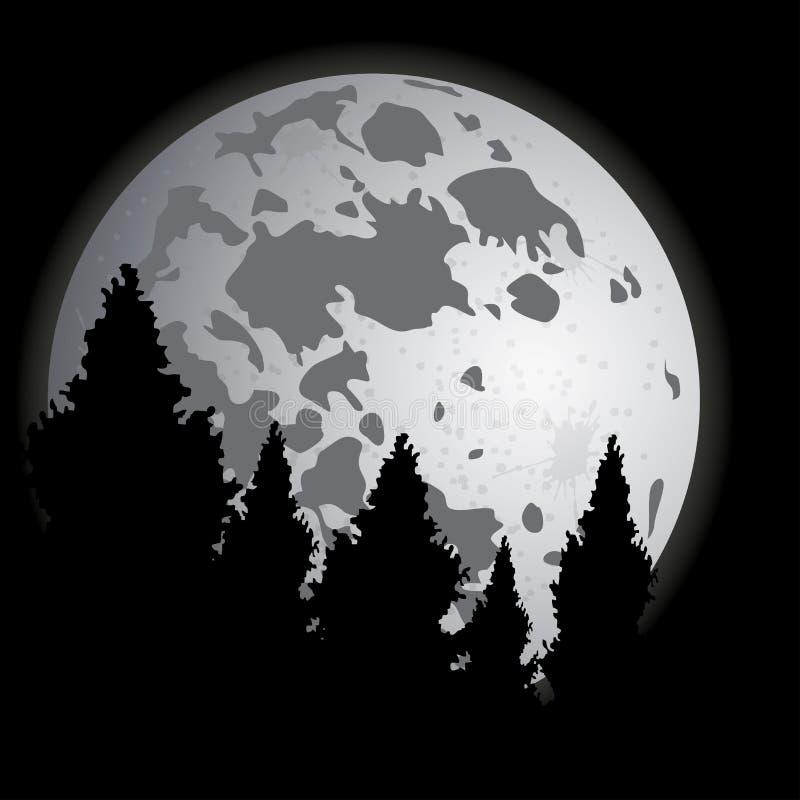 Scène de nuit de Gray Moon et de forêt Vecteur illustration stock
