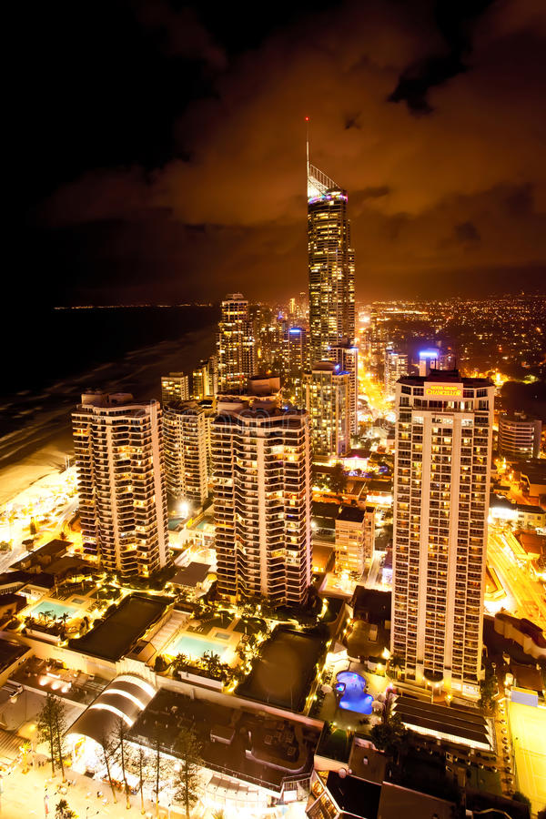 Scène de nuit de l'Australie Q1 de la Gold Coast Queensland photos stock