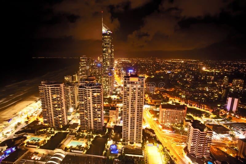 Scène de nuit de l'Australie Q1 de la Gold Coast Queensland image stock