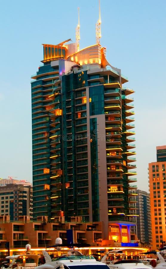 scène de nuit de marina de 8 Dubaï images stock