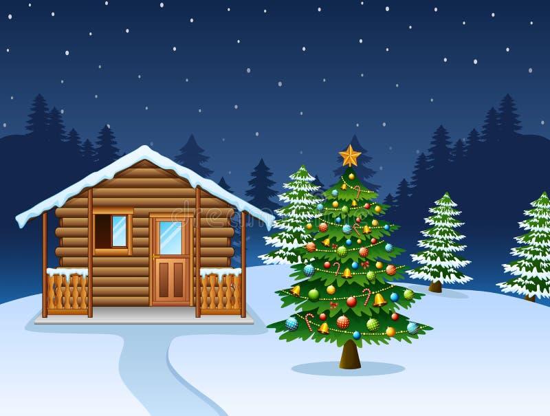 Scène de nuit de Noël avec une maison en bois neigeuse et un arbre de sapin décoré illustration de vecteur