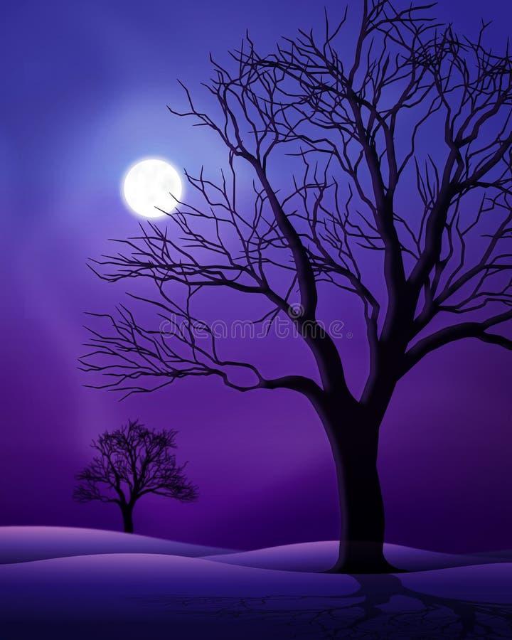 Scène de nuit de pleine lune illustration de vecteur