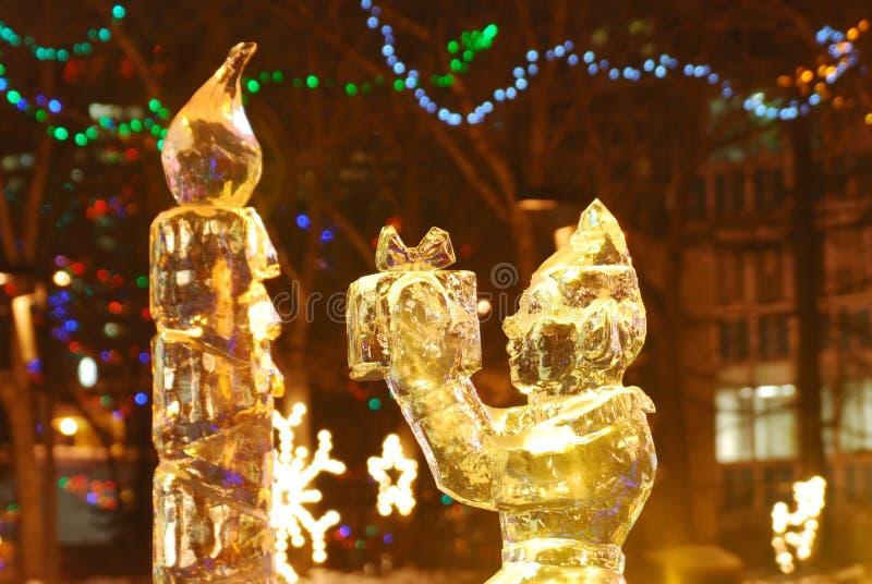 Scène de nuit de sculpture en glace photo libre de droits