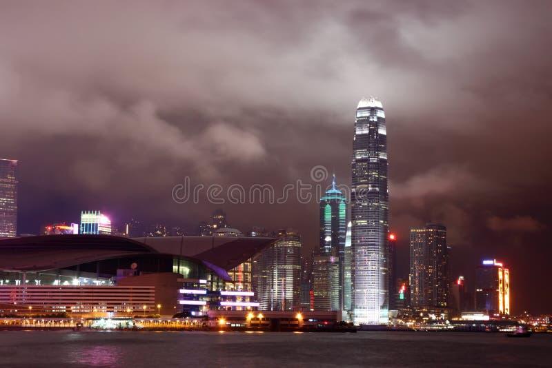 Scène de nuit du port de Victoria - Hong Kong images stock