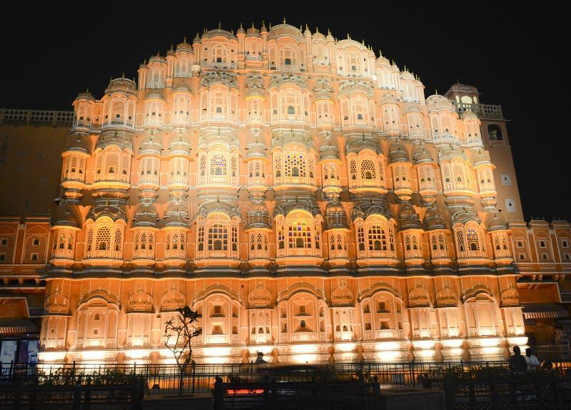 Scène de nuit de Hawa Mahal de palais de vent, Jaipur, Inde image libre de droits