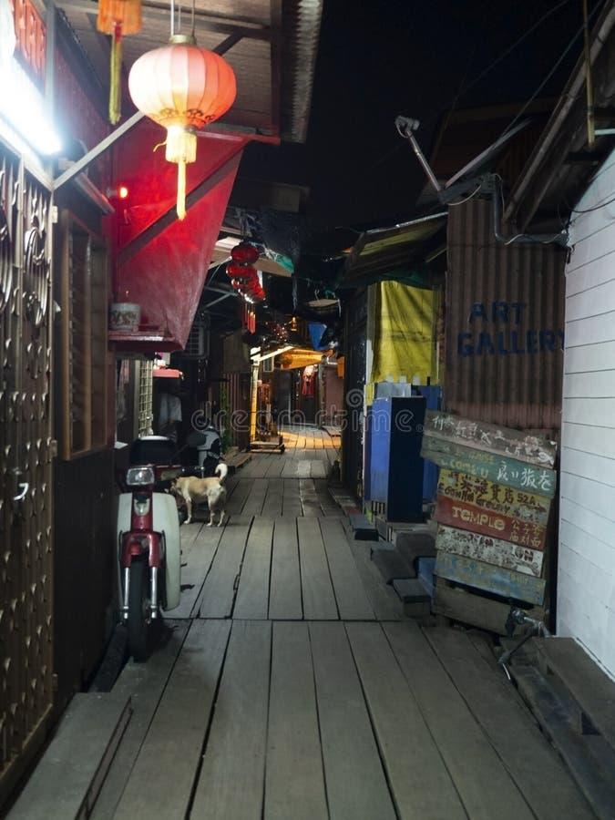 Scène de nuit de jetée de mastication, Penang image stock