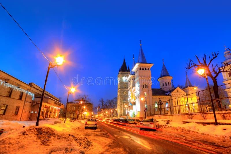 Scène de nuit, jument de Baia, Roumanie images stock