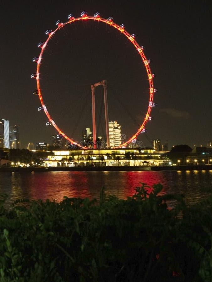 Scène de nuit de l'insecte de Singapour chez Marina Bay images libres de droits