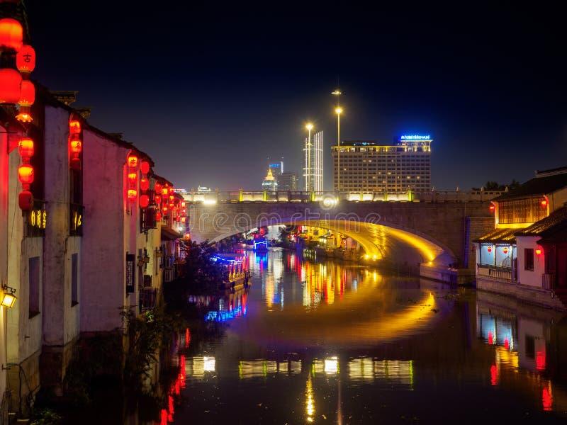 Scène de nuit de rue antique de Nan-Tchang Nan-Tchang - historique scen images libres de droits
