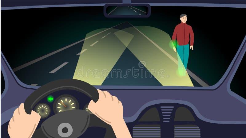 Scène de nuit sur la route illustration stock