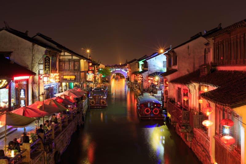 Scène de nuit de tache scénique de montagne de qili de Suzhou images libres de droits
