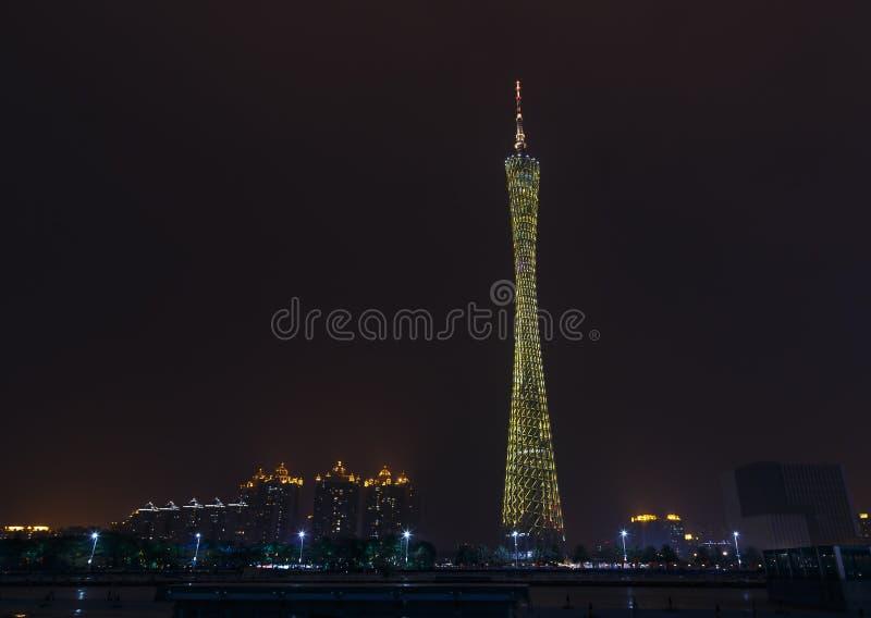 Scène de nuit de tour du canton TV de Guangzhou images libres de droits