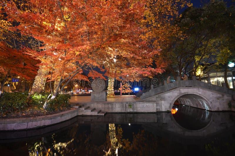 Scène de nuit de Xihu Tiandi à Hangzhou, Chine photographie stock