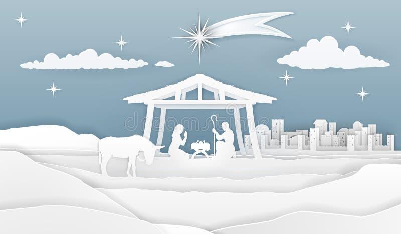 Scène de papier de Noël de nativité illustration stock