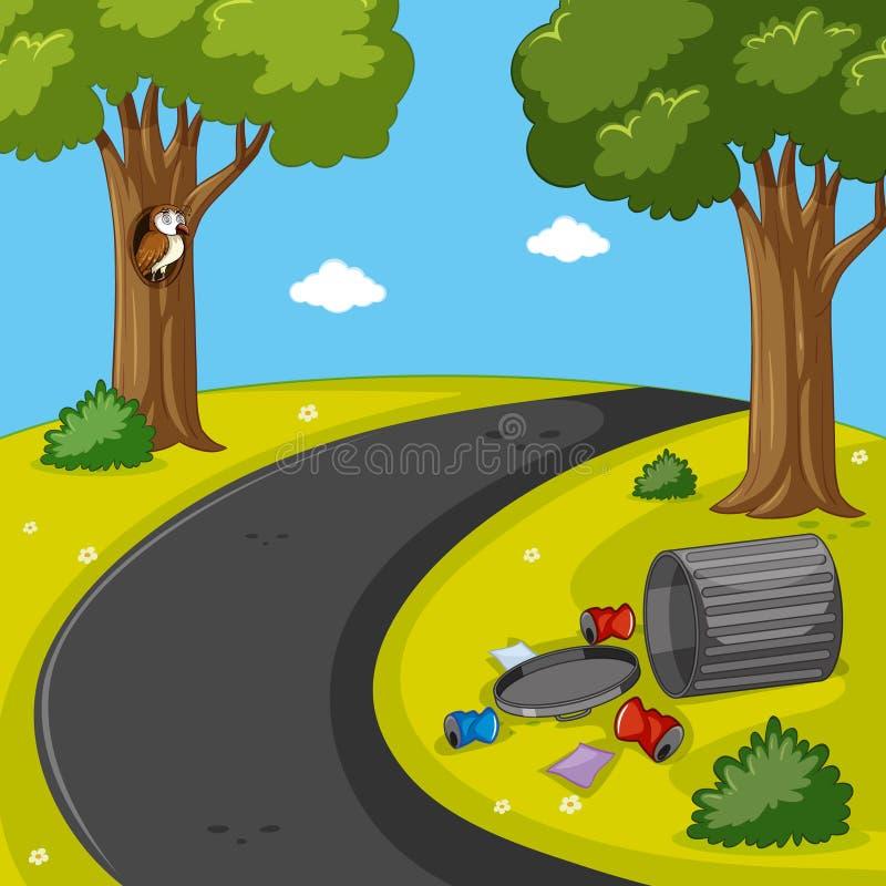 Scène de parc avec des déchets sur la pelouse illustration libre de droits
