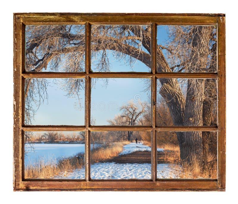 Scène de parc d'hiver de vieille fenêtre de carlingue image stock