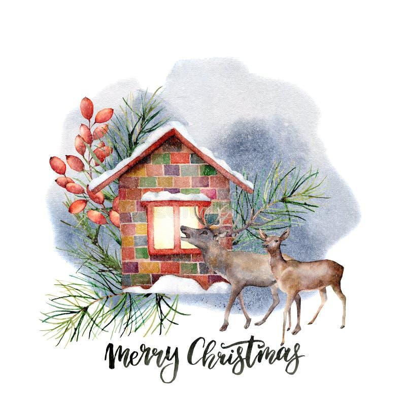 Scène de paysage de forêt d'aquarelle Maison de Milou avec le décor floral et les rennes d'isolement sur le fond blanc Main illustration de vecteur