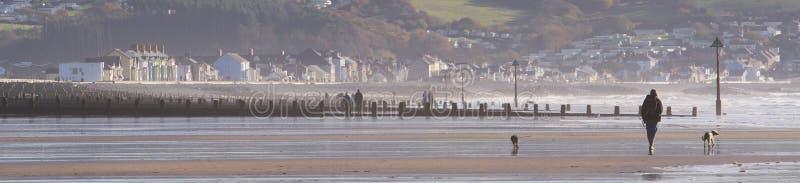 Scène de plage à Borth au Pays de Galles photo stock